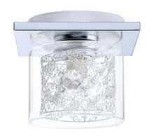 Eglo 91732A - 1x60W Ceiling Light w/ Chrome Finish & Clear Glass, Spiral Chrome Cage & Clear Crystals