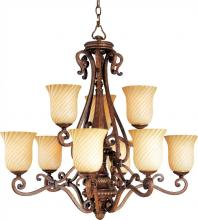 Maxim 12295VSAP - Nine Light Vanilla Swirl Glass Up Chandelier
