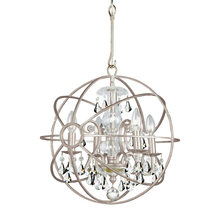 Crystorama 9025-OS-CL-MWP - Crystorama Solaris 4 Light Clear Crystal Silver Mini Chandelier
