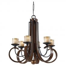 Feiss F2590/6AF/AGW - Six Light Fluer De Lis Glass Antique Forged Iron/aged Walnut Candle Chandelier